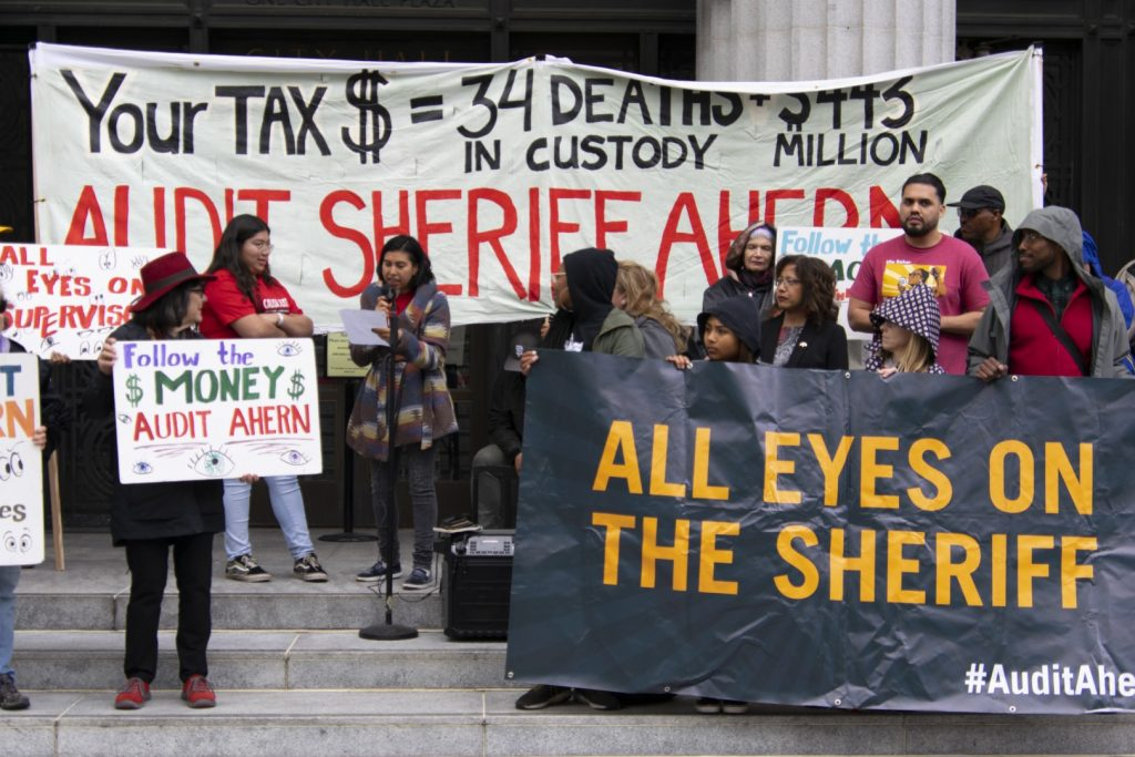Protesters gathered outside the Oakland City Hall to call for an audit of the Alameda County Sheriff's Office. Photo: Scott Morris